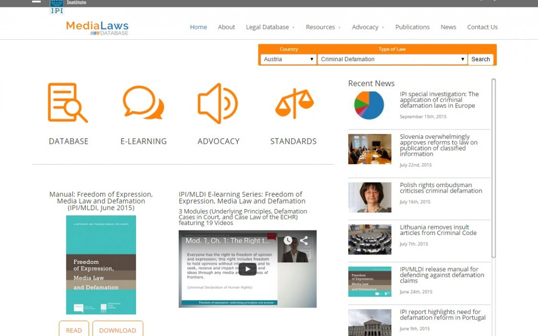 IPI launches new online media laws database Video e-learning series adds to resources for journalists and lawyers on defamation